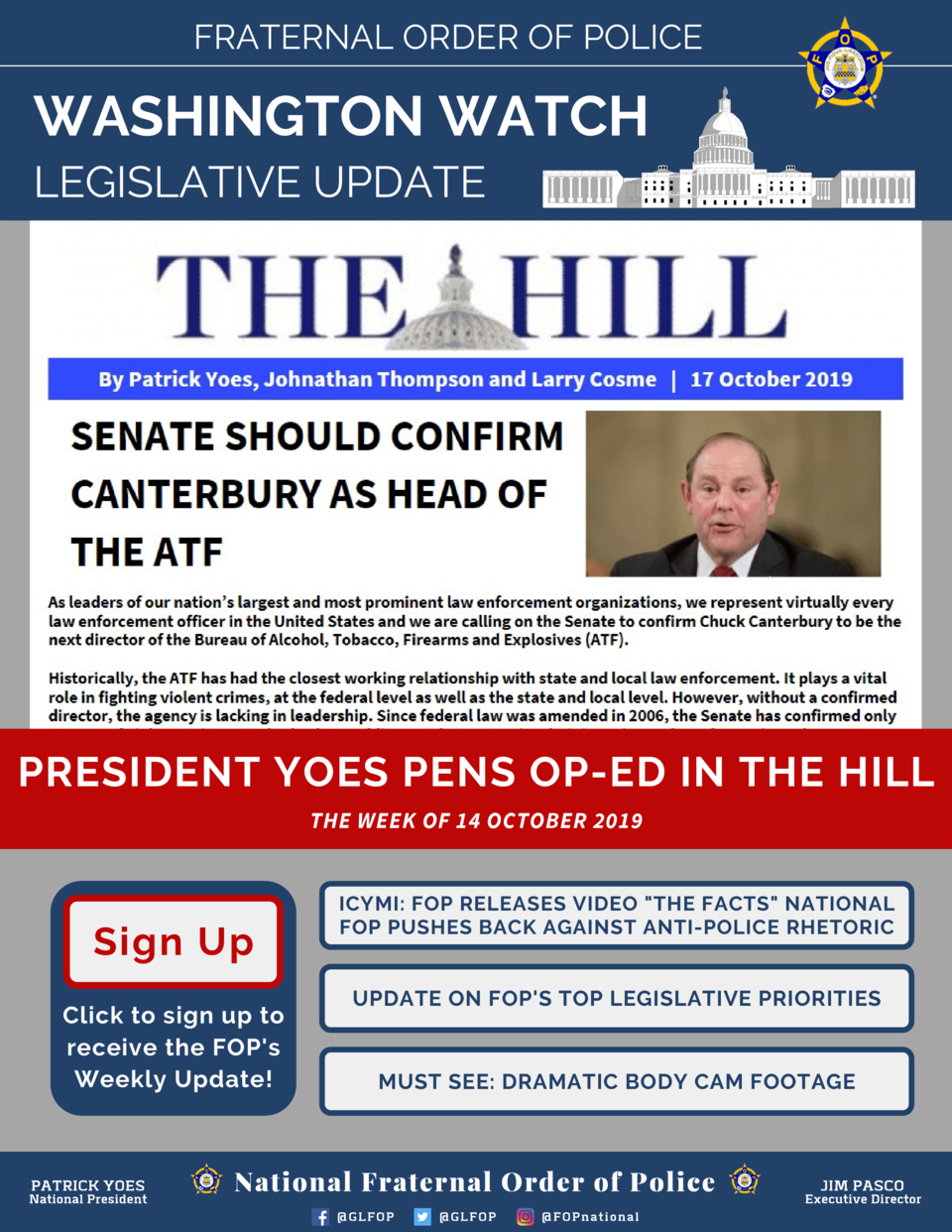 FRATERNAL ORDER OF POLICE  WASHINGTON WATCH LEGISLATIVE UPDATE  PRESIDENT YOES PENS OP-ED IN THE HILL THE WEEK OF 14 OCTOB...