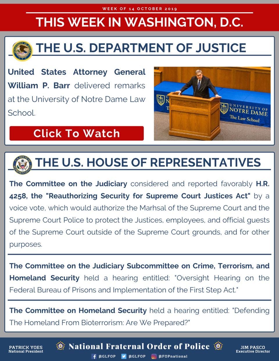 WEEK OF 14 OCTOBER 2019  THIS WEEK IN WASHINGTON, D.C. THE U.S. DEPARTMENT OF JUSTICE United States Attorney General Willi...